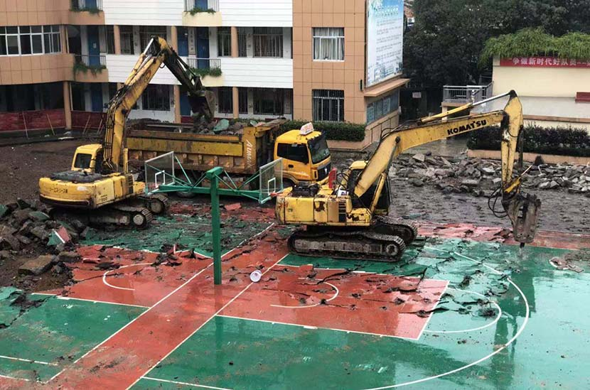 The partially demolished playground of Sanmen Experimental Primary School in Sanmen County, Zhejiang province, 2019. The school's brand-new running track was removed in November after students began getting sick, allegedly from exposure to toxic fumes emitted from the track. Courtesy of a parent