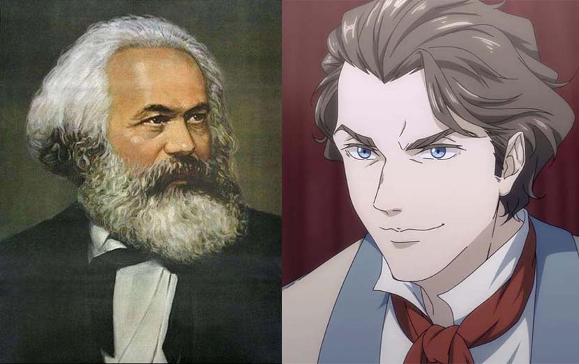 Left: The Chinese school portrait of Karl Marx; right: The image of Karl Marx in the Karl Marx cartoon