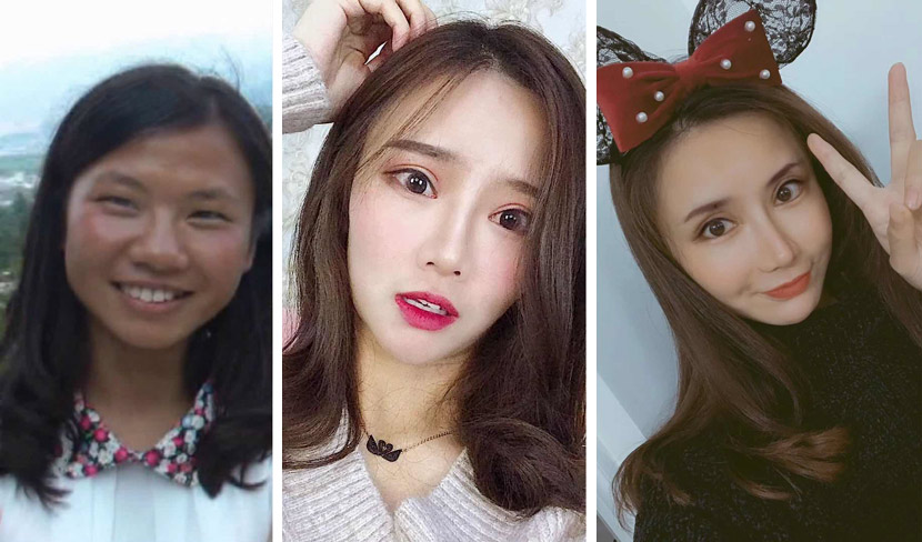 From left to right: pictures of Chen Siqi during high school, the summer of 2018, and January 2019. Courtesy of Chen Siqi