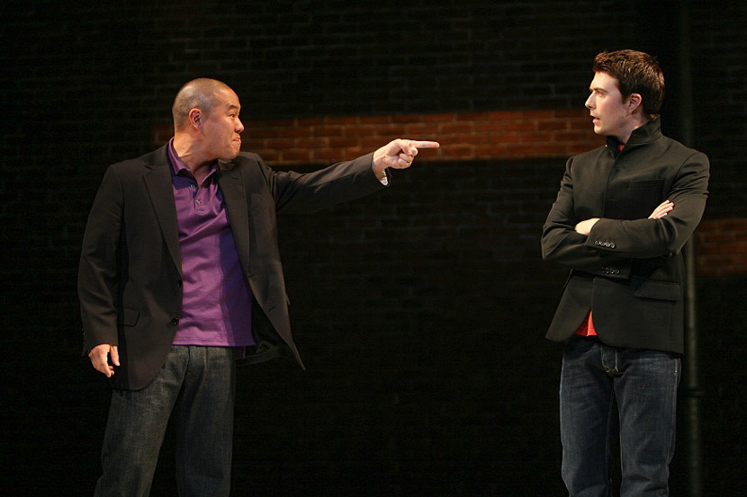 "A photo from a production of ""Yellow Face"" at The Public Theater in New York, 2007. Courtesy of Michal Daniel"