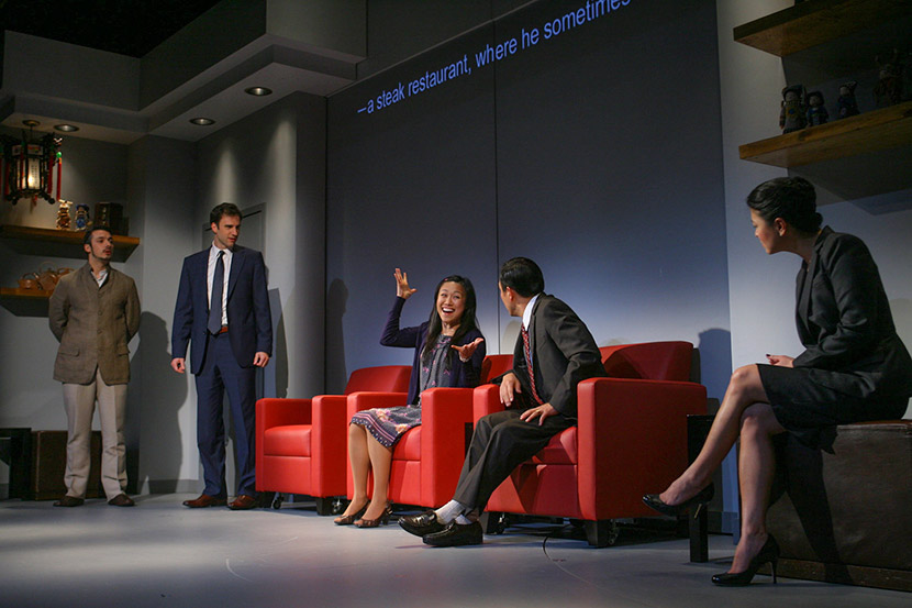 "A production photo from the play ""Chinglish"" at the Goodman Theatre in Chicago, 2011. Courtesy of Eric Y. Exit"