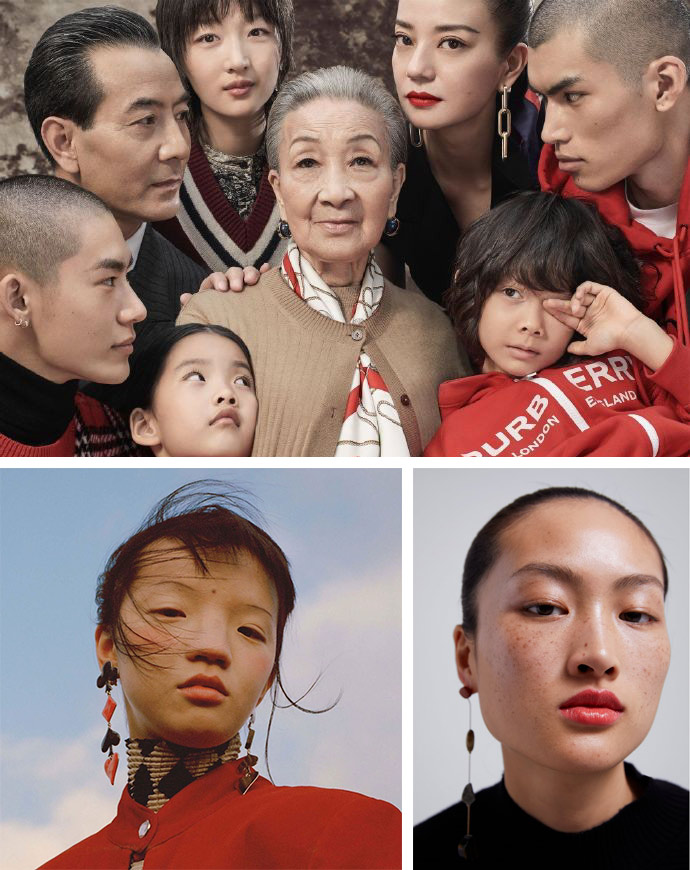 Top: Burberry's 2019 campaign. Ethan James Green/IC; Bottom left: A portrait of Chinese model Tin Gao published on Vogue's Instagram account on March 3, 2019. From the Instagram of voguemagazine; Bottom right: a photo of the freckle-faced Chinese model Li Jingwen from Zara's February campaign. From Zara's official website