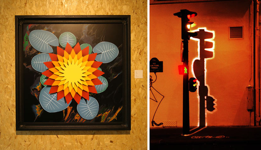 "Left: Zev's studio piece ""Lotus 3,"" on display at the ""Post Contemporary-Urban Graphic 7019"" exhibition in Shanghai, Jan. 24, 2019. Courtesy of MoCA Shanghai; right: A photo from his street art series ""Electric Shadows."" From the artist's website"