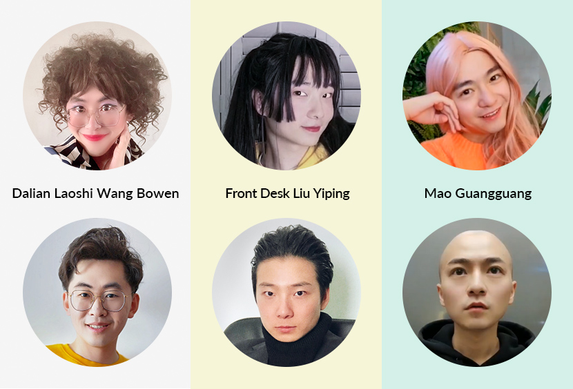 Three popular vloggers and their female personas.  Photos from Weibo users @大连老湿王博文, @前台刘依萍, and @我叫毛光光, and re-edited by Ding Yining/Sixth Tone
