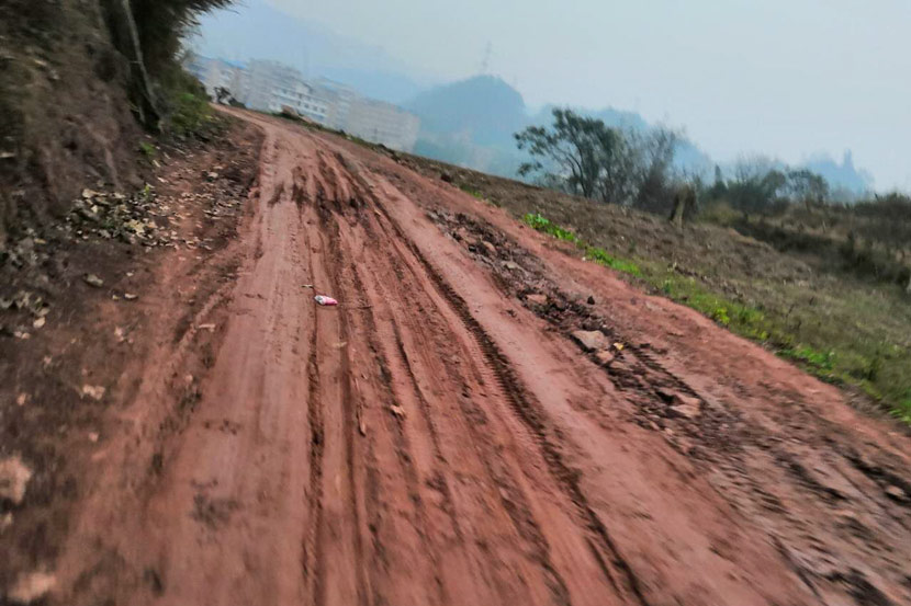 The road to Luo family's home in a village in Yibin, Sichuan province, January 2019. Ming Que for Sixth Tone