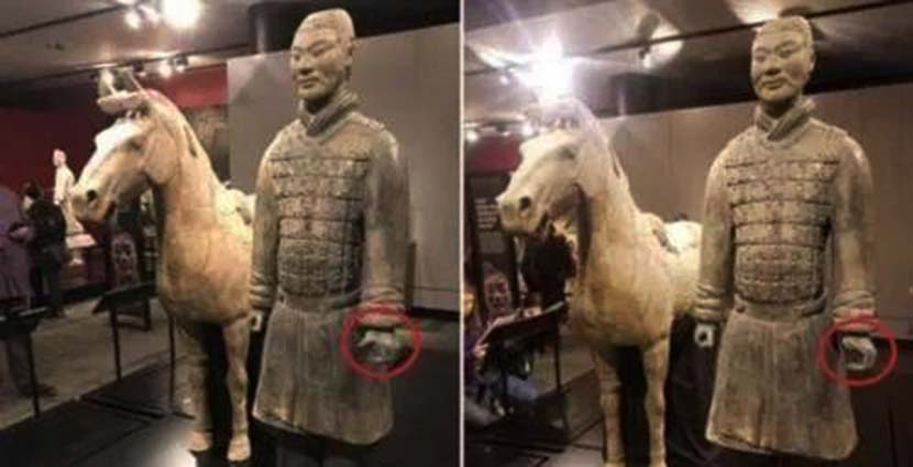 A composite image of two photos shows a terra cotta warrior before and after its thumb was snapped off. @中国文博 on Weibo