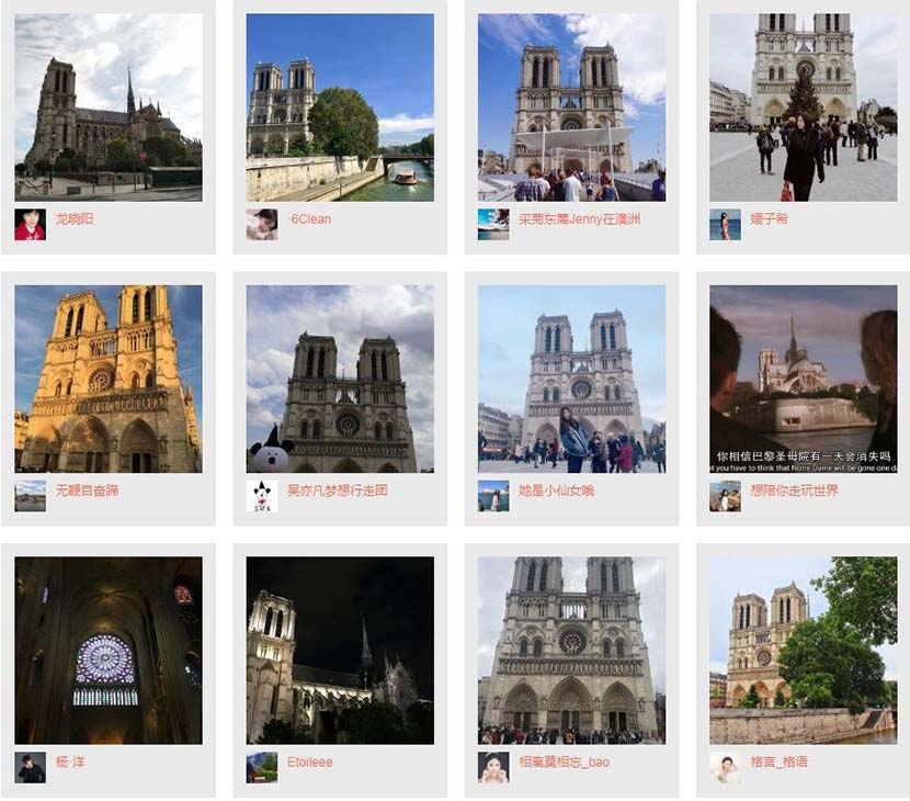 "A screenshot of the images under a hashtag translating to "" Me and the Notre Dame in Paris"" on Weibo."