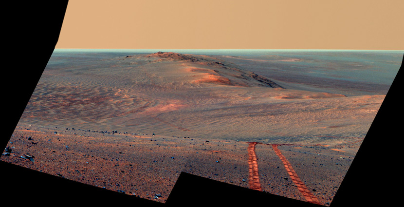 A view of Mars from the panoramic camera on NASA's Mars Exploration Rover Opportunity that shows part of the Endeavour Crater's western rim, August 2014. NASA/UPI Photo/IC
