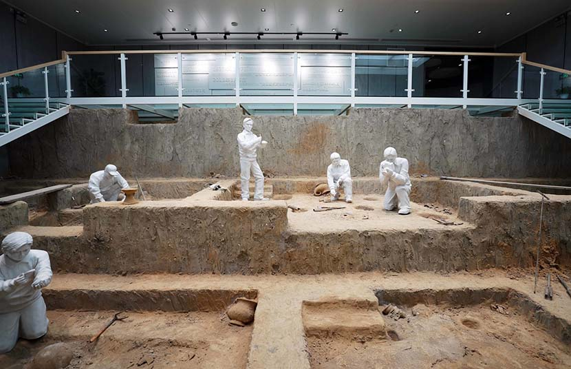 An interior view of excavated ruins in Maqiao Town in Shanghai, April 16, 2019. IC