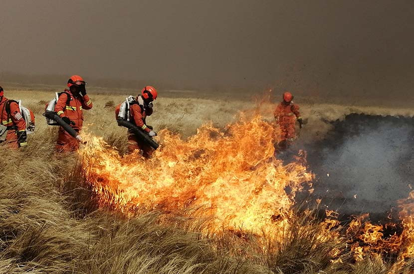 Firefighters work to douse flames on the Hulun Buir grasslands, Inner Mongolia Autonomous Region, April 19, 2019. IC