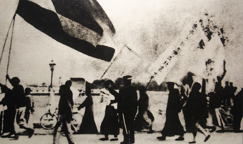 Protestors from Peking University march down the road in Beijing on May 4, 1919. IC