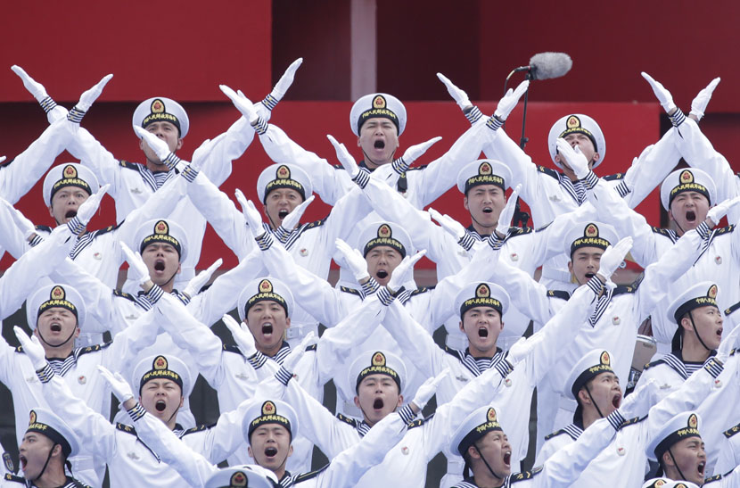 Chinese navy personnel perform at an event celebrating the 70th anniversary of the founding of the Chinese People's Liberation Army Navy in Qingdao, Shandong province, April 22, 2019. Jason Lee/Reuters/VCG