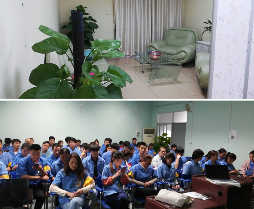 Top: An interior view of Guo's counseling office at a factory in Dongguan, Guangdong province, March 2019; Bottom: workers attend a psychological adaptation training in Dongguan, Guangdong province, April 2019. Courtesy of Guo Xiaomei