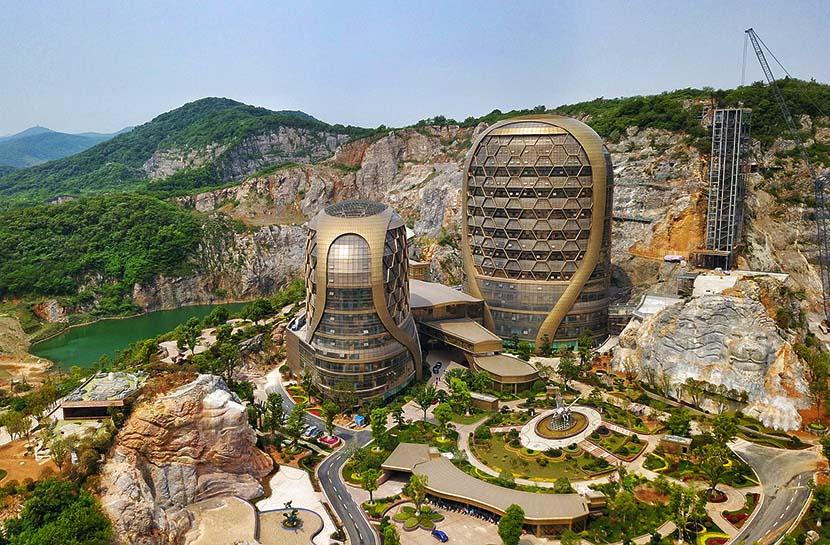 "An aerial photo shows a ""honeycomb"" hotel at a theme park in Nanjing, Jiangsu province, May 6, 2019. The hotel is scheduled to open in October this year. Cui Xiao/VCG"