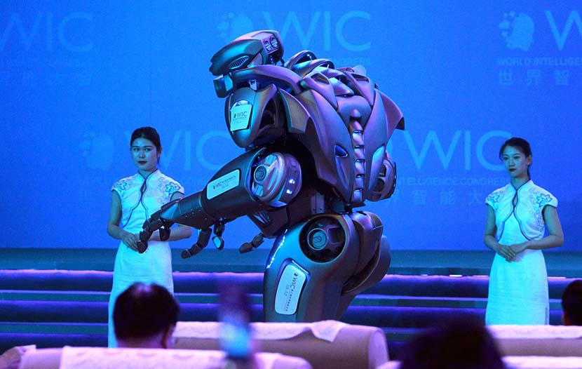 Intelligent robot Titan performs during the main forum of the third World Intelligence Congress at the Meijiang Convention & Exhibition Center in Tianjin, May 16, 2019. You Sixing/VCG