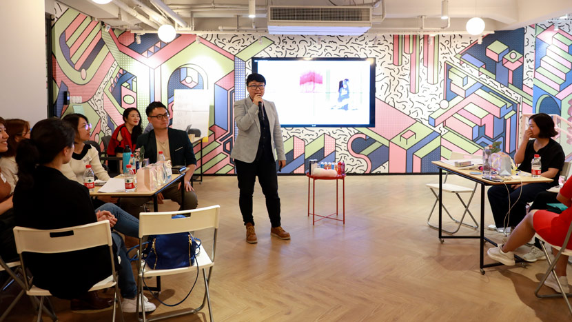 "Zhao Jing, founder of Yummy, gives a speech at the event, ""Pelvic Floor Awakening,"" held in Shanghai, May 11, 2019. Courtesy of Zhao Jing"