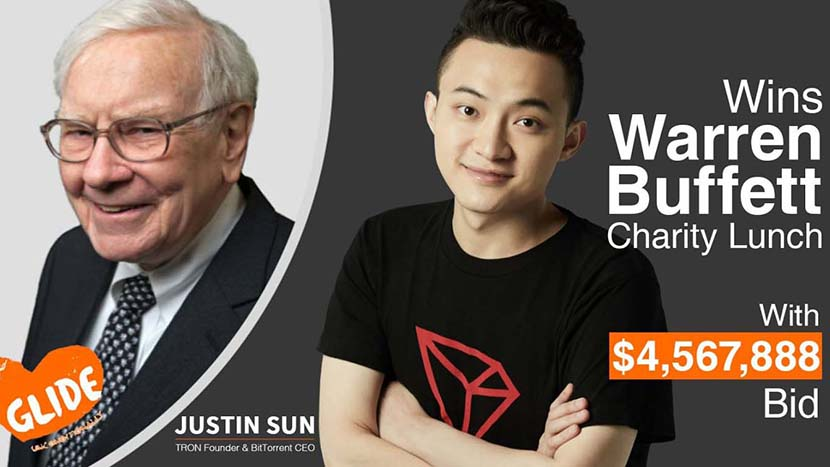 A promotional graphic for cryptocurrency entrepreneur Justin Sun bidding a record-high $4.57 million for an annual charity lunch with Berkshire Hathaway CEO Warren Buffett.