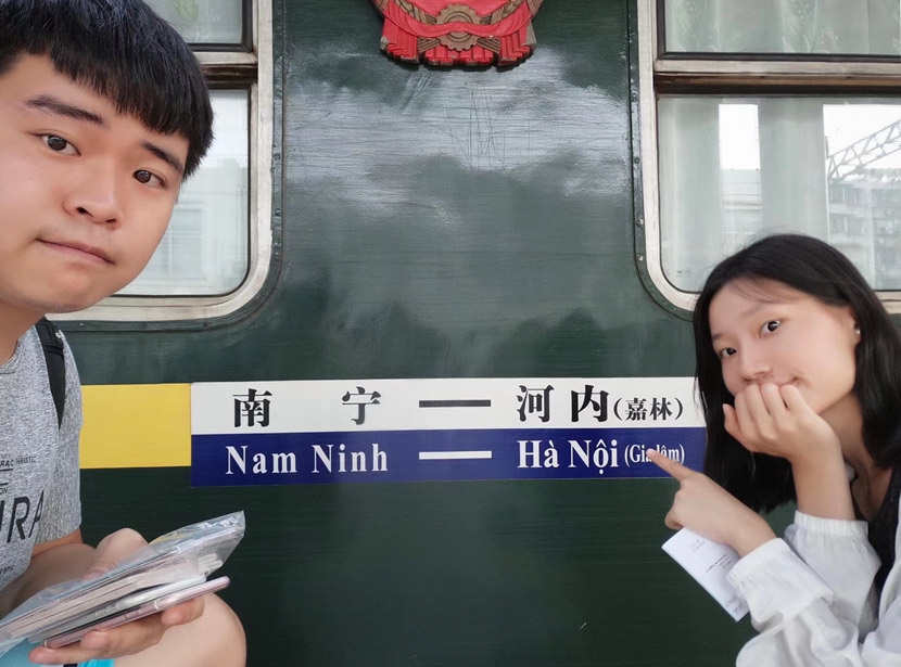 A 26-year-old couple from Hangzhou poses for a photo during a post-naked resignation trip. Courtesy of the subjects