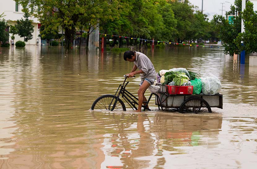 A vegetable farmer pushes a tricycle in the flood in Ruili, Yunnan province, June 26, 2019. VCG
