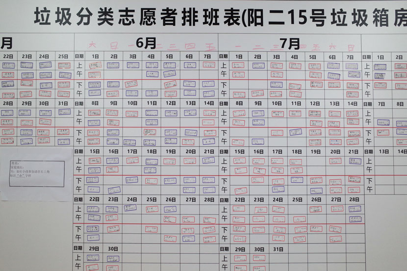 The volunteer schedule board at Liu Jidong's residential committee office in Shanghai, June 14, 2019. Ding Yining/Sixth Tone