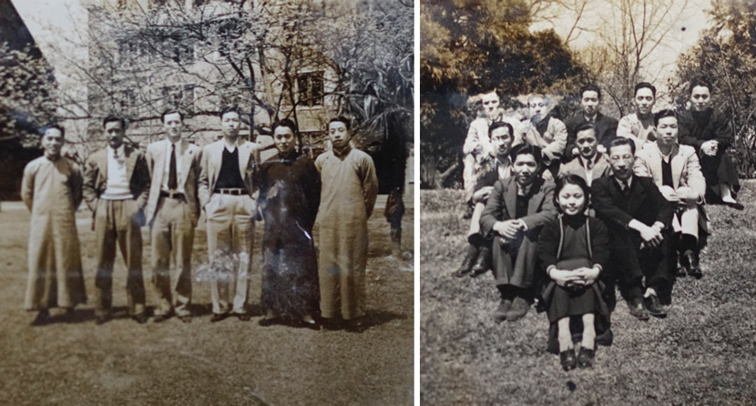 Photos of Peng Xiongjiang (in black robes) with his friends in Shanghai, 1930-40s. Courtesy of Wang Yuezhou