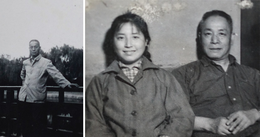 Left: A portrait of Peng Xiongjiang in a Mao suit; right: Peng Xiongjiang and his younger daughter Peng Huizhu. Courtesy of Wang Yuezhou