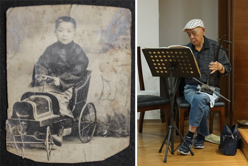 Left: A young Peng Zejin; right: A retired Peng Zejin plays the 'erhu' in Shanghai, 2019. Wang Yuezhou for Sixth Tone