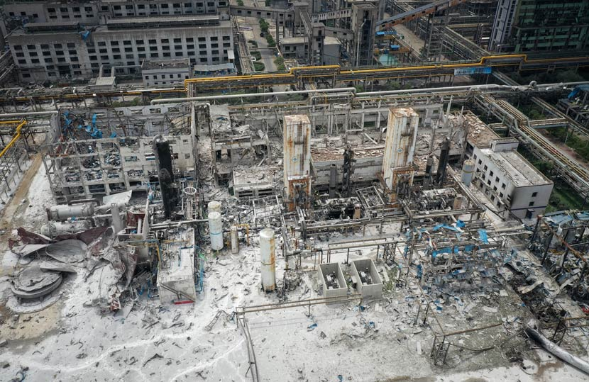 An aerial photo shows the aftermath of an explosion at a gasification plant in Yima City, Henan province, July 19, 2019. IC