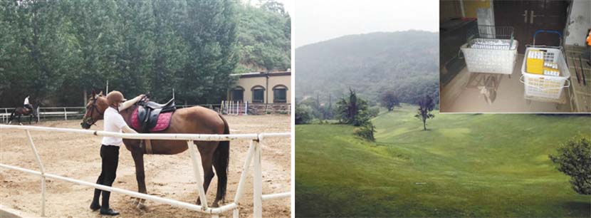 Left: A woman adjusts a horse's saddle at an equestrian facility on Wuyun Mountain in Shangjie District, Henan province, 2019; right: A driving range and two carts loaded with golf balls on Wuyun Mountain in Shangjie District, Henan province, 2019. Xinhua