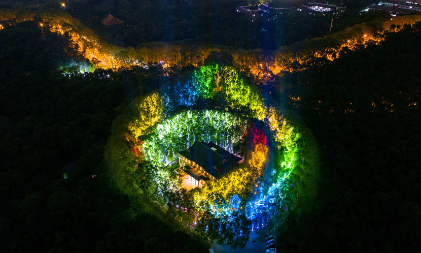 An aerial view of a light show taking place over Qixi Festival at Purple Mountain near Nanjing, Jiangsu province, Aug. 7, 2019. Su Ya