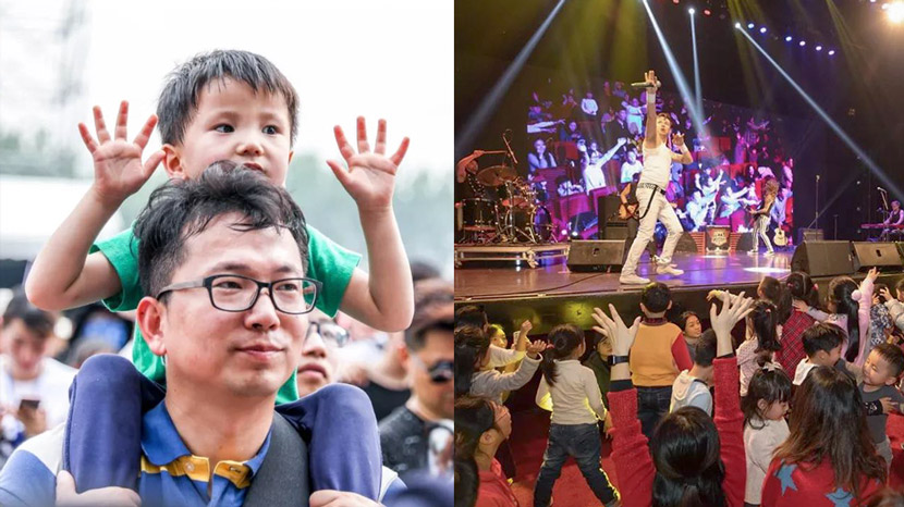 A Hand in Hand festival performance in Zhenjiang, Jiangsu province in 2018 (left) and in Shanghai in 2017 (right). From Hand in Hand's WeChat account