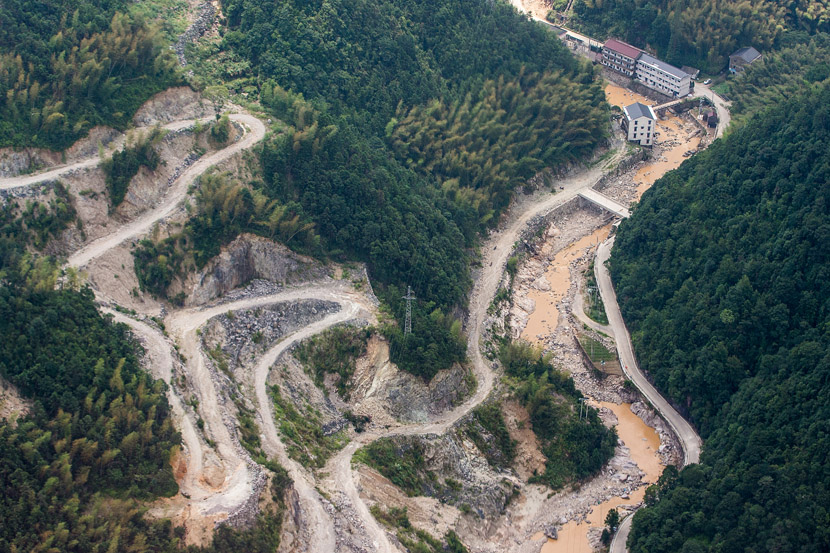 An aerial view of eroded mountain roads after floodwaters caused by Typhoon Lekima receded near Linhai, Zhejiang province, Aug. 12, 2019. Chen Zhongqiu/VCG