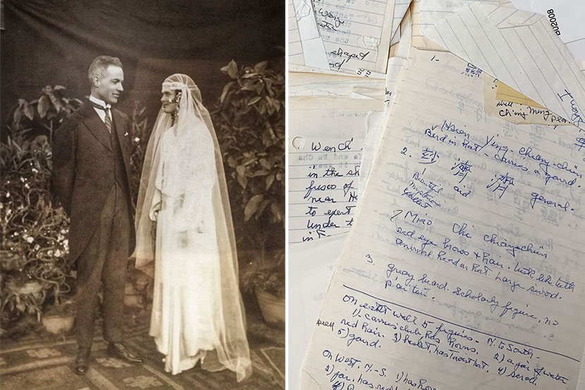 Left: The wedding of L. Carrington Goodrich and Anne P. Swann, in Beijing, 1923. Courtesy of Anne Goodrich Jones; right: Anne S. Goodrich's research notes. Courtesy of Li Mingjie