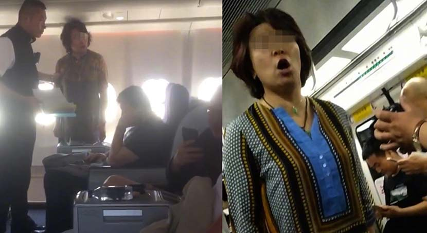 Left: Niu, middle, standing in the cabin of the Air China plane, July 12, 2019; right: Niu purportedly shouting in a Beijing subway car. @李亚玲 on Weibo