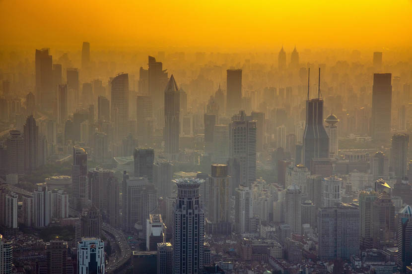 An aerial view of skyscrapers on a hot day in Shanghai, Aug. 21, 2019. Duo Ba/VCG