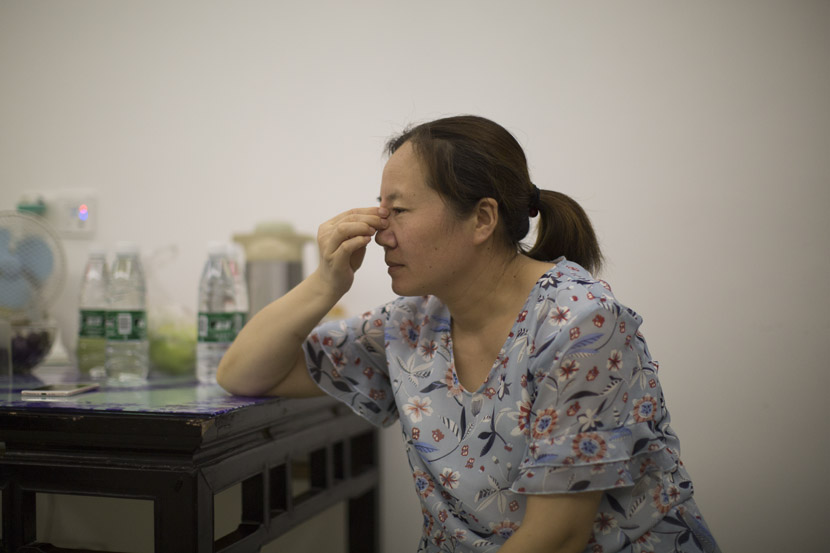 Yang Ling, Zhao Yangyang's mother, worries about her daughter's situation in Sheyang, Jiangsu province, July 28, 2019. Shi Yangkun/Sixth Tone