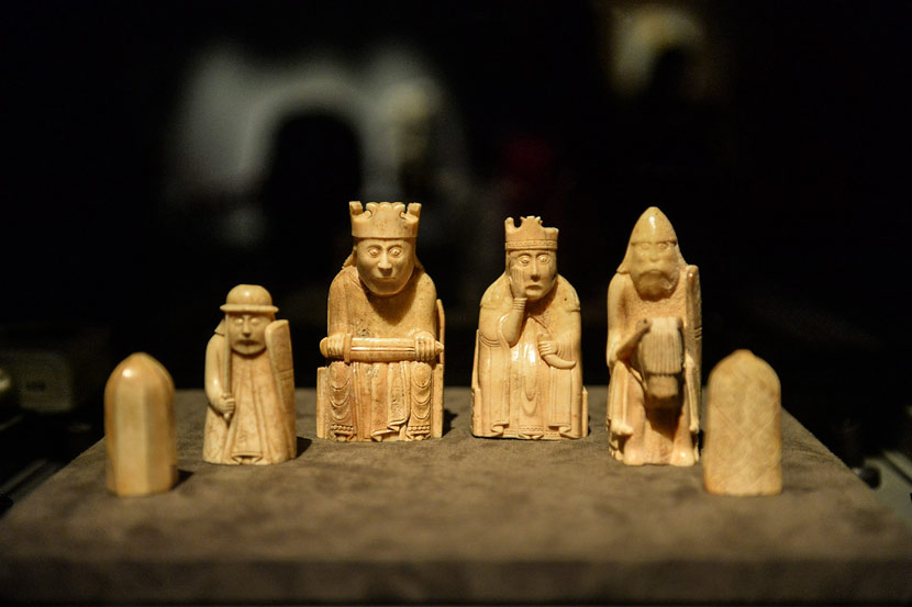 'The Lewis Chessmen' on display at the 'A History of the World in 100 Objects' exhibition at the National Museum of China, Beijing, March 1, 2017. Wei Tong/VCG