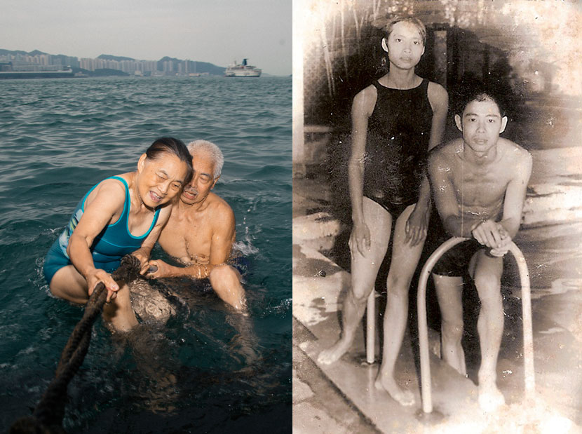 Left: Chan Hak-chi helps his wife, Li Kit-hing, climb ashore after going swimming in Hong Kong, May 25, 2017. Wu Yue/Sixth Tone; right: a photo from the summer of 1973 shows Chan Hak-chi and Li Kit-hing standing by a swimming pool in Guangzhou, Guangdong province. Courtesy of Chan Hak-chi