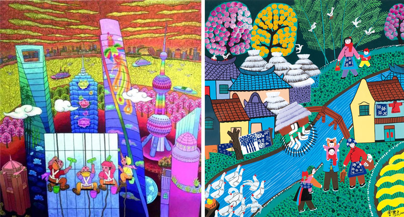 Left: 'Upward Force' by Hu Peiqun (2017), an example of Shanghai's western suburb-style peasant painting. Courtesy of Hu Peiqun; right: 'The Mother Returns to her Parents' Home' by Cao Xiuwen (2016), an example of Shanghai's Jinshan-style peasant painting. Courtesy of the Folklore Institute at East China Normal University