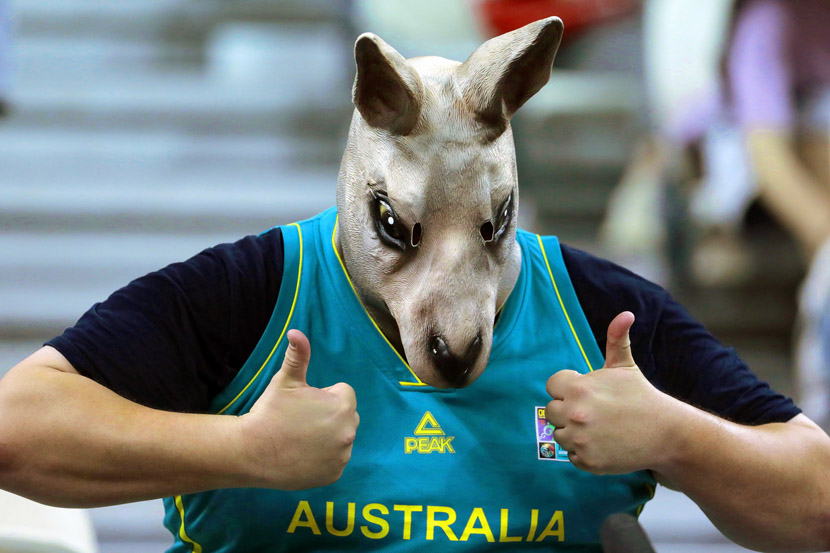 A supporter of the Australian team gestures proudly during the FIBA Basketball World Cup 2019 quarterfinal game between Australia and the Czech Republic in Shanghai, Sept. 11, 2019. Wu Hong/EPA/IC