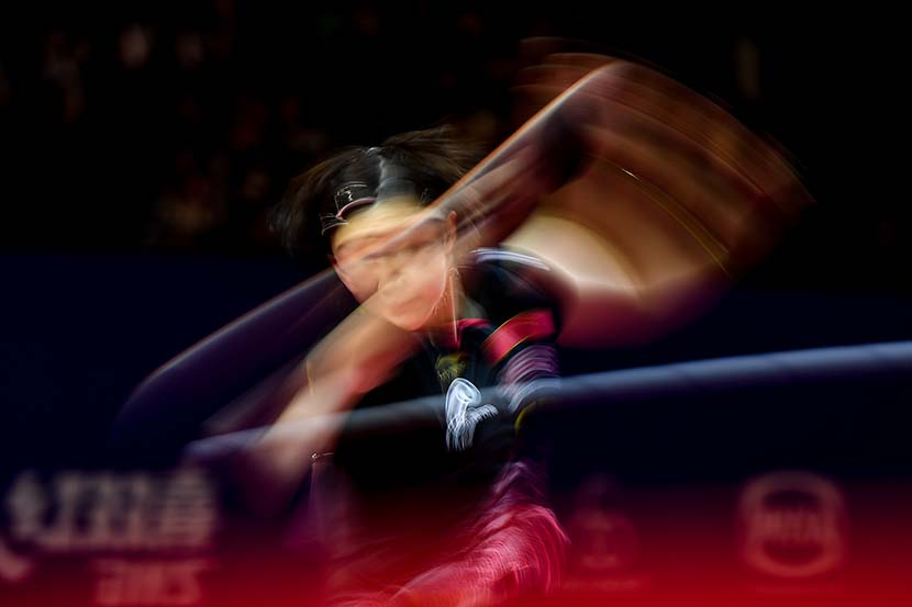 Chen Meng battles her countrywoman Liu Shiwen during the semifinals of the ITTF-ATTU Asian Table Tennis Championships at GOR Amongraga stadium in Yogyakarta, Indonesia, Sept. 21, 2019. Robertus Pudyanto/Getty Images/VCG