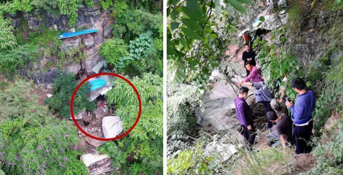 Left: An aerial view of the fugitive Song's cliffside hideaway; right: Song is apprehended by police in Yongshan County, Yunnan province, 2019. China News Service