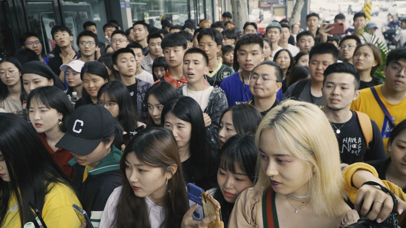Young people attend the opening ceremony of a streetwear store in Chengdu, Sichuan province, April 2019. Sun Zhichao for Sixth Tone