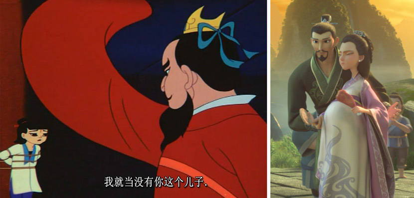 "Left: A scene from ""Prince Ne Zha's Triumph Against the Dragon King"" in which Ne Zha's father declares, ""You are no son of mine."" From Douban; right: Li Jing supports his pregnant wife in 2019's ""Ne Zha."" From Douban"