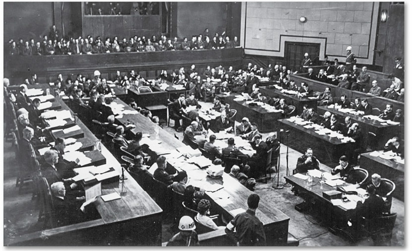 A view of the IMTFE courtroom at the Japanese War Ministry Building in Tokyo, May 3, 1946. From Virginia Libraries