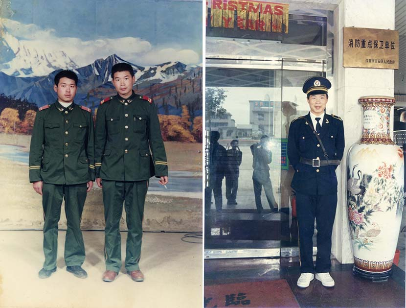 Left: A photo of Zhan Youbin (right) with his comrade in the Sichuan army; right: Security guard Zhan Youbin poses for a portrait in 1995. Zhan Youbin for Sixth Tone.