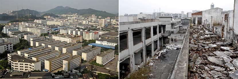 Left: An overview of an industrial zone that has since been redeveloped into a commercial area in Dongguan, Guangdong province, Sept. 28, 2008; right: An abandoned factory in Dongguan, Guangdong province, Feb. 21, 2012. Zhan Youbin for Sixth Tone.