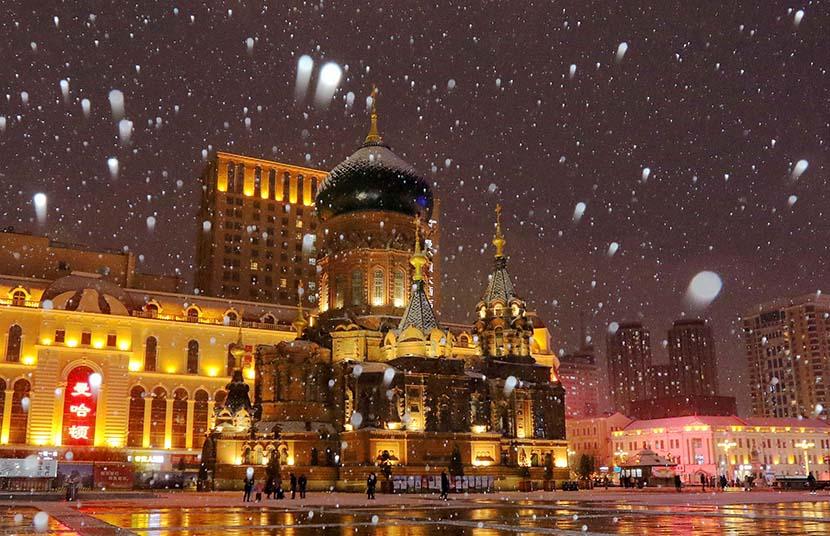 The first snow of winter falls in Harbin, Heilongjiang province, Nov. 6, 2019. VCG