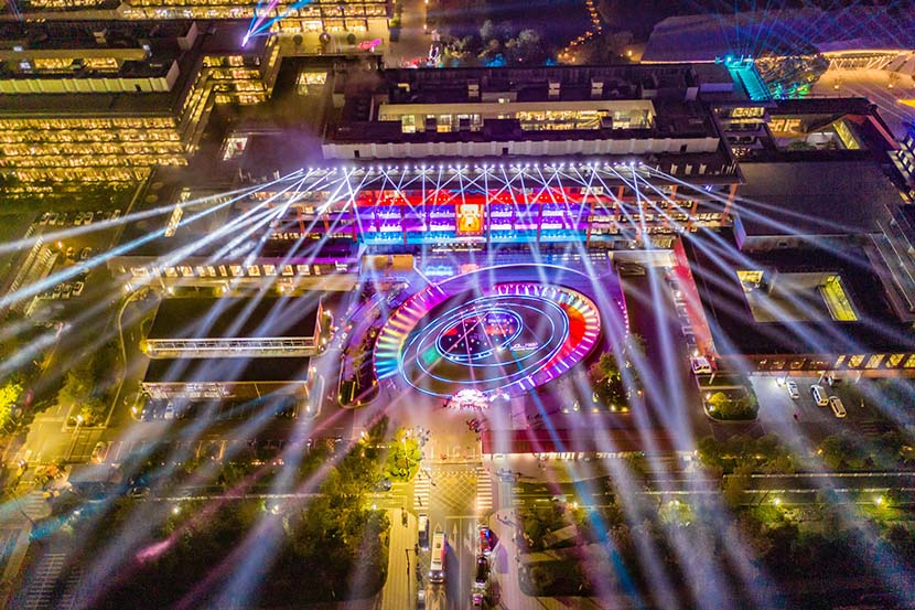 An exterior view of Alibaba's headquarters illuminated for Singles' Day in Hangzhou, Zhejiang province, Nov. 11, 2019. VCG