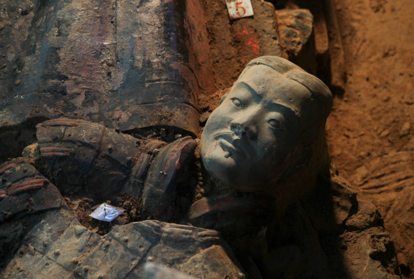 A terra-cotta warrior, unearthed in Xi'an, Shaanxi province. Courtesy of Rong Bo